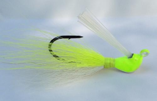 Chartreuse jig Bucktail hair jig.