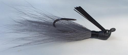 Gray smoke flippin jig. Bucktail hair jig.