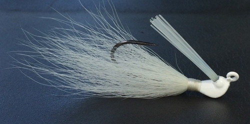 Total white UV flippin jig. Bucktail hair jig.