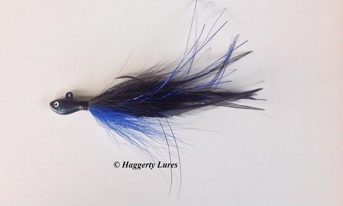 Bass Jig Bucktail Deceiver Ultra Minnow fish head black and blue
