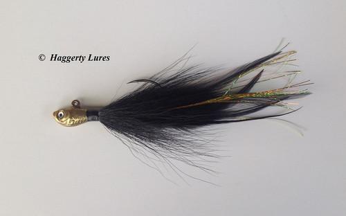 Bass Jig - Bucktail Deceiver - Ultra Minnow fish head black gold