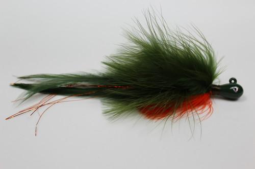 Crawdad Holy Hannah. Marabou Deceiver Hair Jig in Olive and Orange.