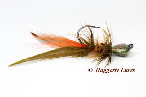 Olive/Orange Crawdad Crayfish Lunker Hagg's Hellraiser Sculpin Bugz Jig.