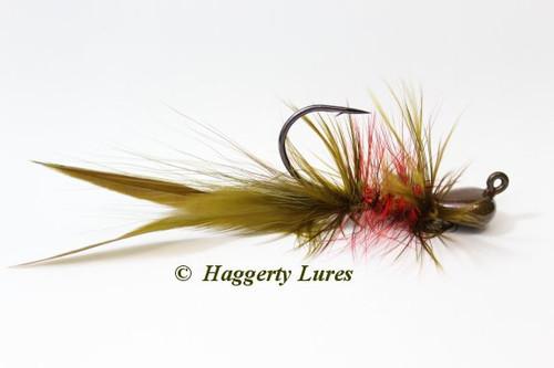 Olive Watermelon Red Flake Lunker Hagg's Hellraiser Sculpin Bugz Jig.