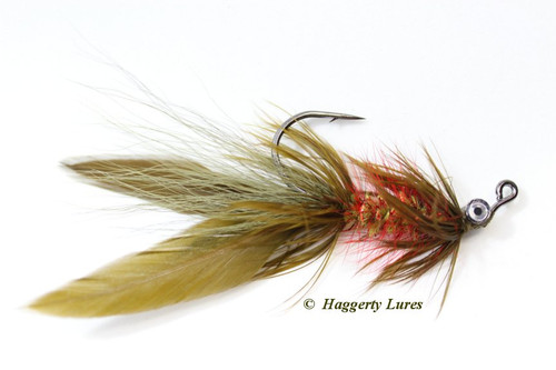 Watermelon Olive and Red Lunker Hellraiser Fly