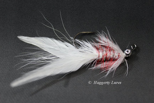 White and Red Lunker Hellraiser Fly