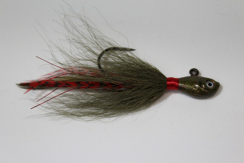 """Shorty Joe - Watermelon Red Flake. Olive and Red Grizzly 4"""" long"""