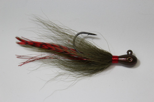 """Shorty Joe Tear Drop - Watermelon Red Flake with Whiting grizzly feathers - 4"""" long"""