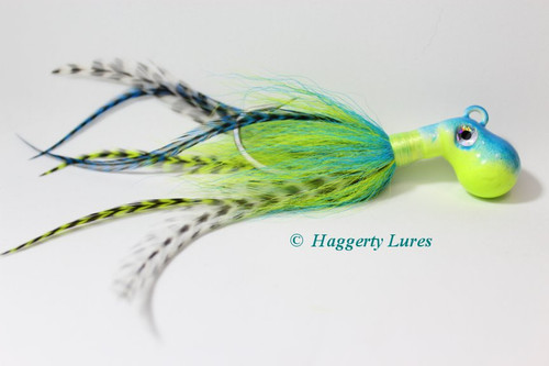 Chartreuse and Blue Cobia jig