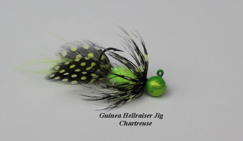 Chartreuse Spotted Guinea Haggs Hellraiser Jig Woolly Bugger sculpin.