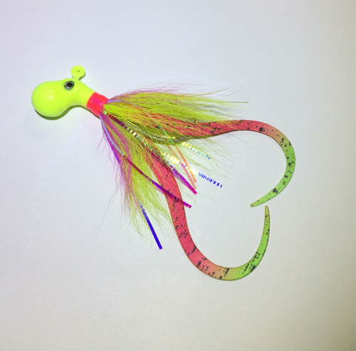 Pink / Chartreuse Octopus jig with Teaser Tentacles