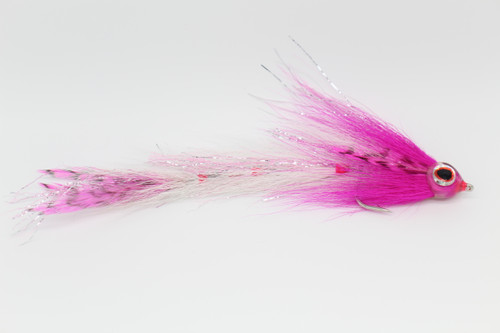 Hot Pink Head, Grizzly Feather Tail and White Bucktail Body.