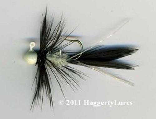 Black and white Glow chenille jig Bugz