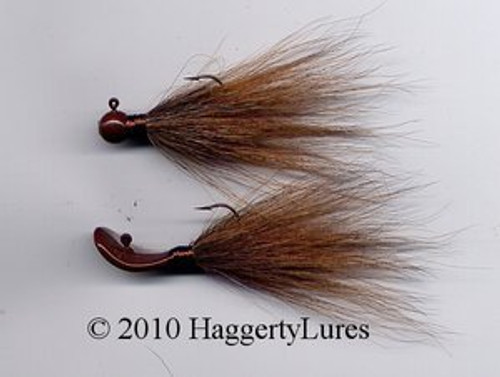 Bucktail Wobble and Round Head Jigs (Brown)