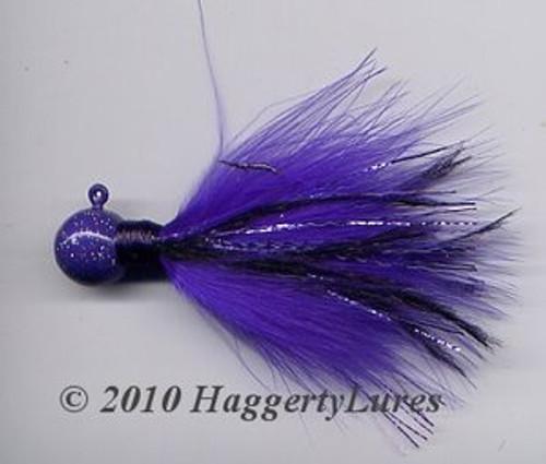 Marabou Jig - Purple Haze - Round Head Fishing Lure for Bass Crappie
