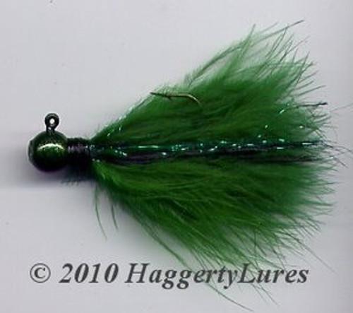 Marabou Jig - Emerald - Round Head Fishing Lure