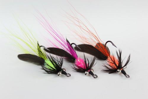 Salmon Steelhead colors -Set of 3-Haggerty Hellraiser Sculpin Bugz Fly Hot Chartreuse, Hot Pink, Hot Orange