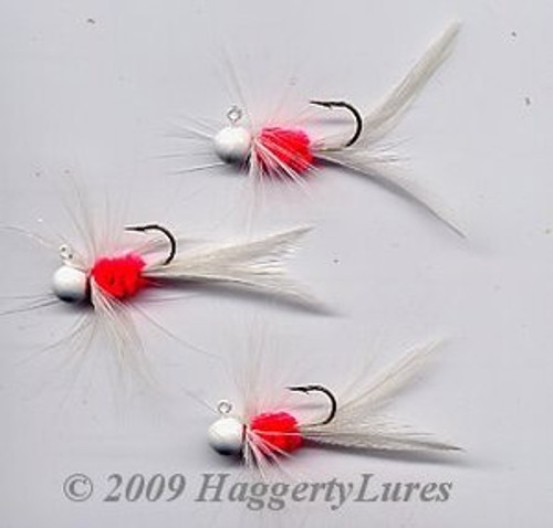 Bugz - small White/Hot Red panfish crappie jig