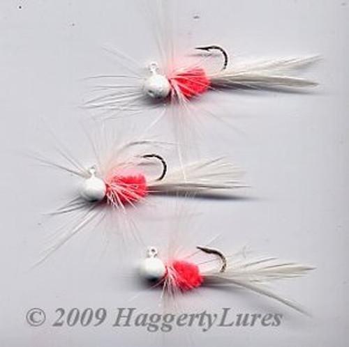 Bugz - small White/Hot Orange panfish crappie jig