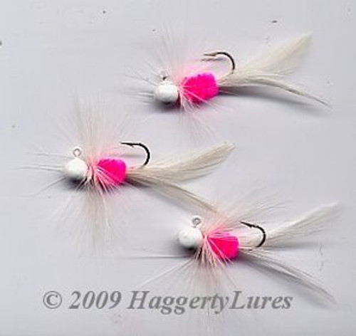 Bugz - small White/Hot Pink panfish crappie jig