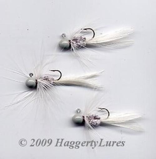 Bugz - small White/Gray panfish crappie jig