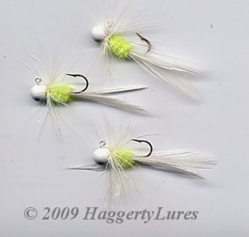 Bugz - small White/Chartreuse panfish crappie jig