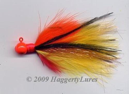 Marabou Jig - Hot Perch - Round Head Fishing Lure