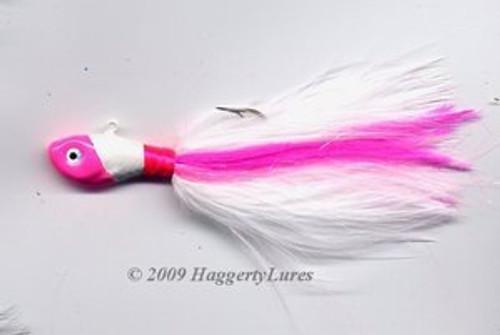 Marabou Jig - Ultra Fish head - Hot Pink & White