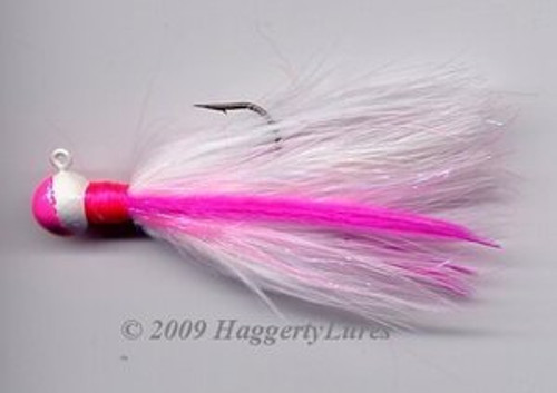 Marabou Jig - Signature Hot Pink and White - Round Head Fishing Lure