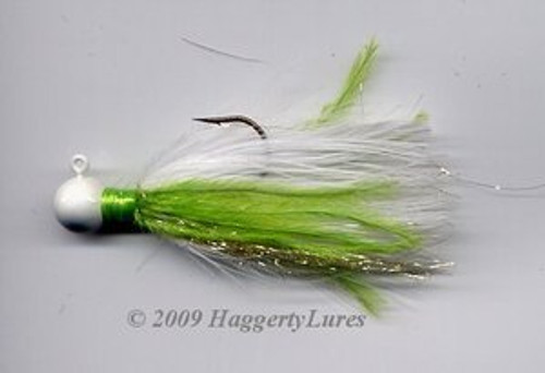 Marabou Jig - Signature Chartreuse and White - Round Head Fishing Lure