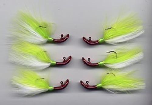 Marabou Wobble Head Jig (Red Head Chartreuse/White)