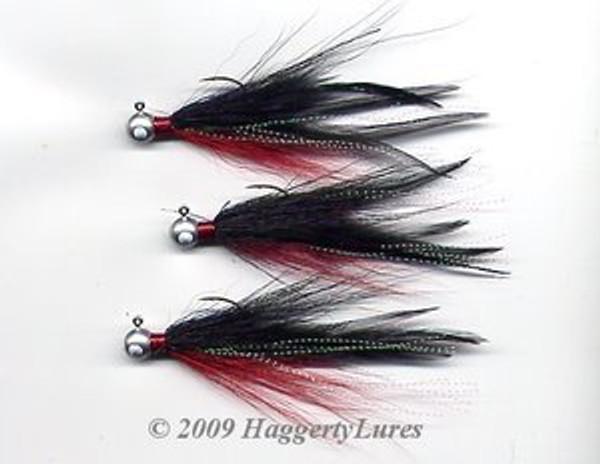 Round head bucktail deceiver jig - Red / Black