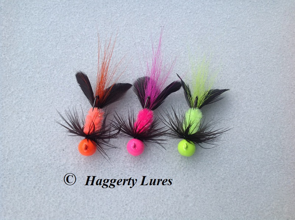 Salmon Jigs in Hellraiser style - Hot orange, Hot Pink, Chartreuse.