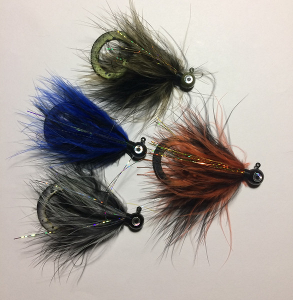 Palmered Marabou Jigs - Black / Olive, Black / Blue, Black / Orange, Black - with Curly Teaser Tails.