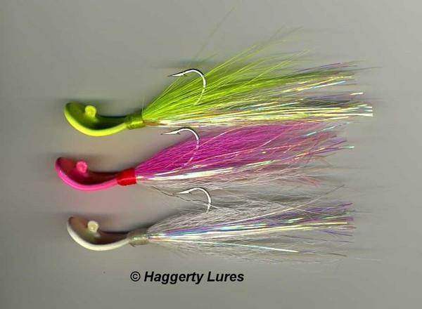 Bucktail Wobble Head Bonefish Jig (1/16, 1/8oz - Glow In The Dark)