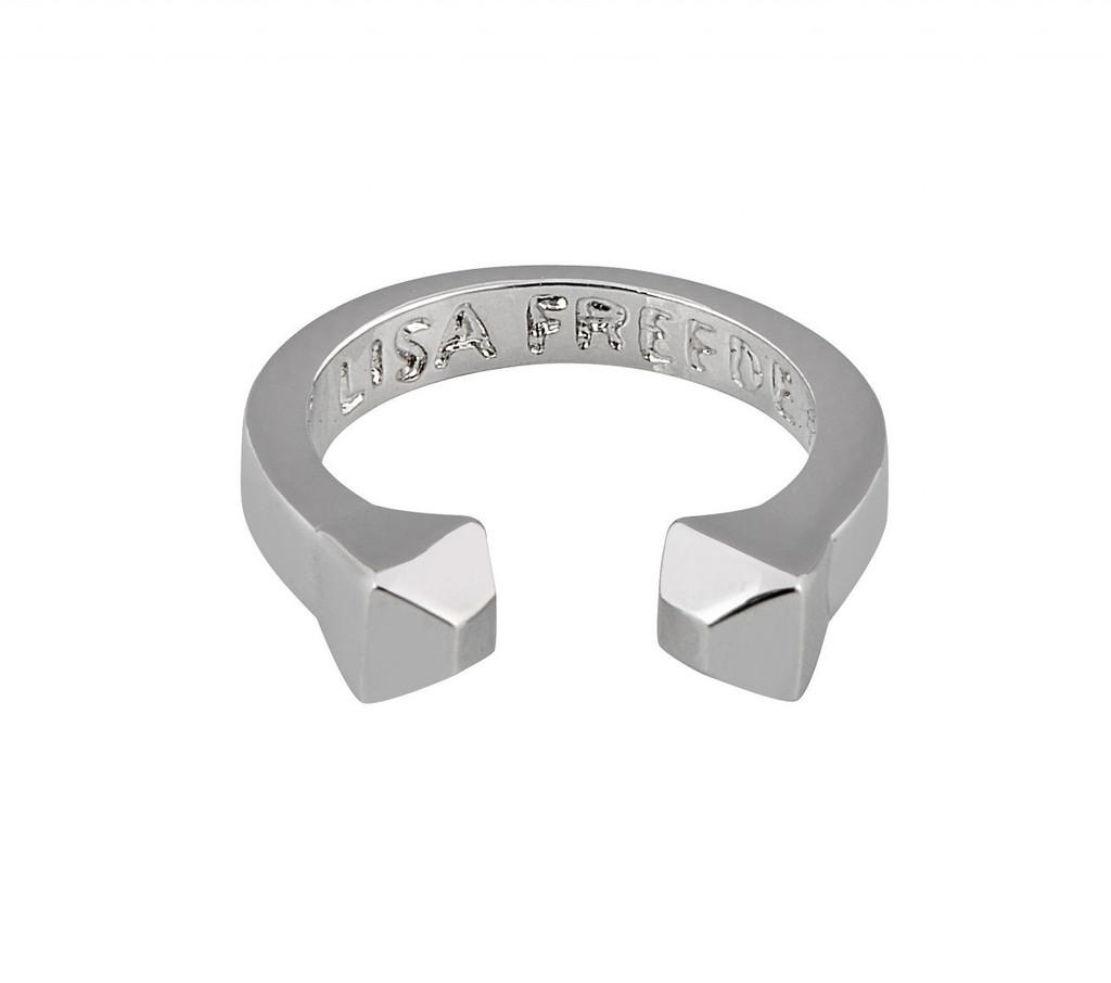 Rhodium Plated Solid Stud Ring