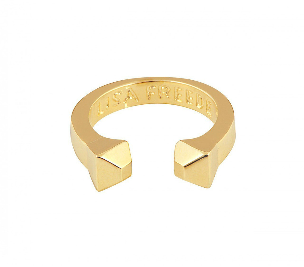 Yellow Gold Plated Solid Stud Ring