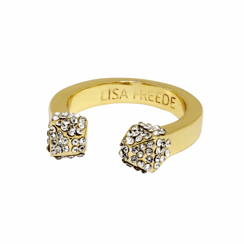Yellow Gold Plated Crystal Stud Ring