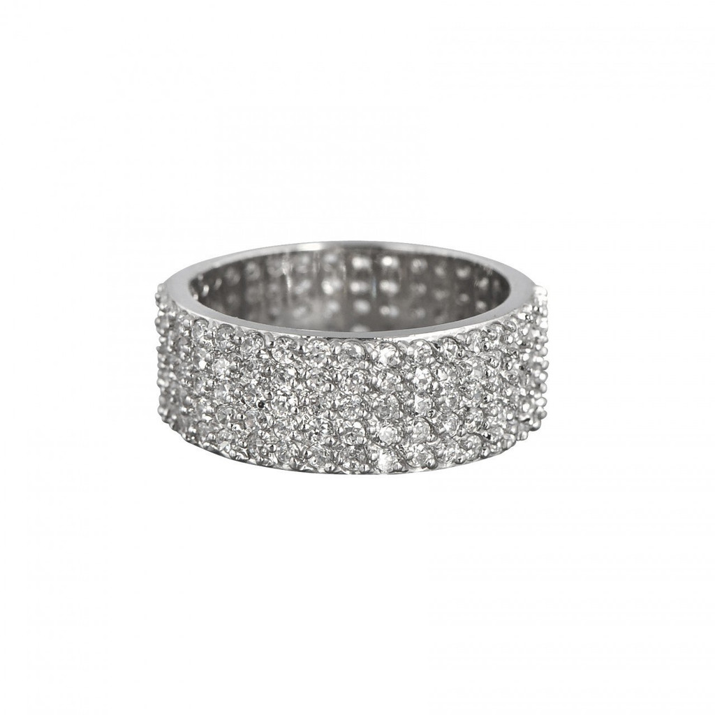 Rhodium Plated Wide Eternity Band