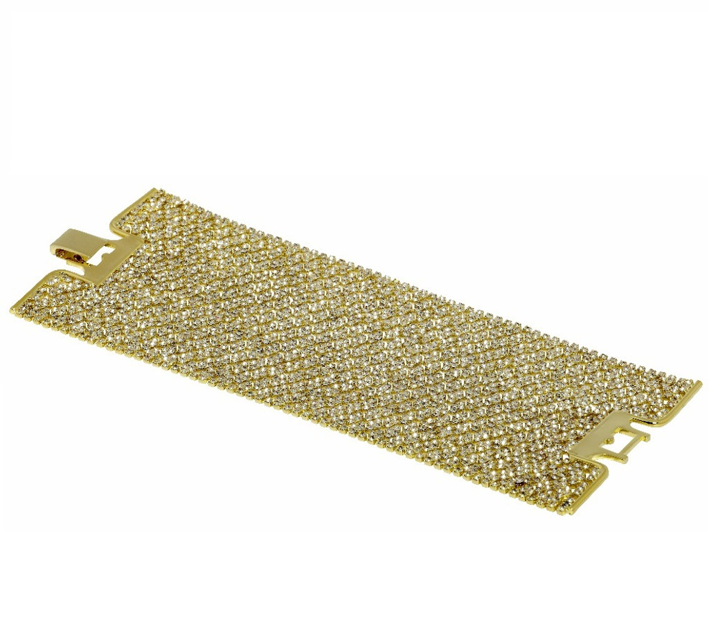Yellow Gold Plated Crystal Lace Cuff