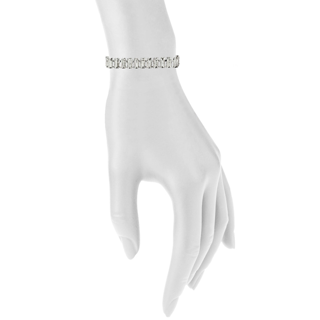 Rhodium Plated Baguette Tennis Bracelet Shown on Arm