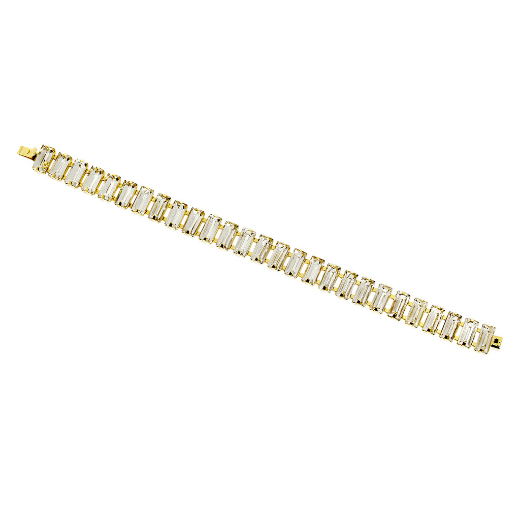 Yellow Gold Plated Baguette Tennis Bracelet