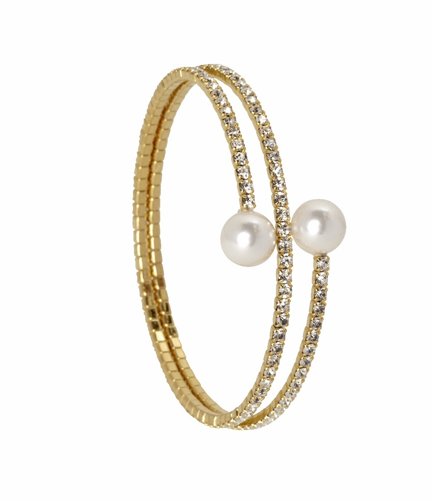 Yellow Gold Plated 2 Line Crystal Wrap Bracelet with Large Pearls