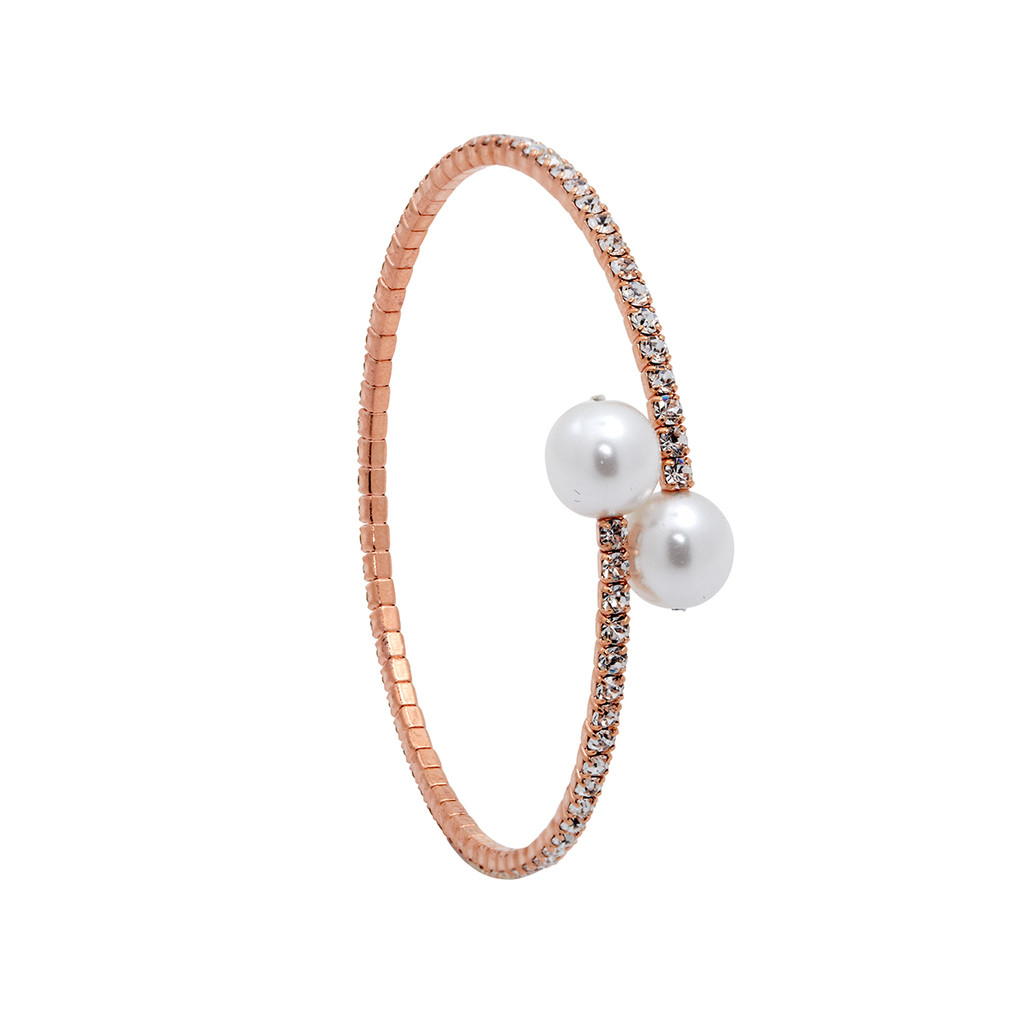 Rose Gold Plated 1 Line Crystal Wrap Bracelet with Large Pearls