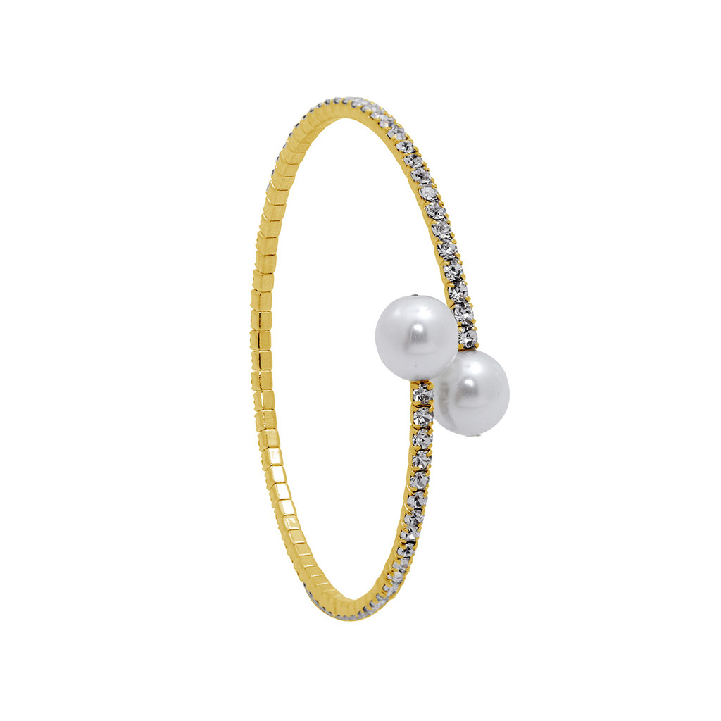 Yellow Gold Plated 1 Line Crystal Wrap Bracelet with Large Pearls