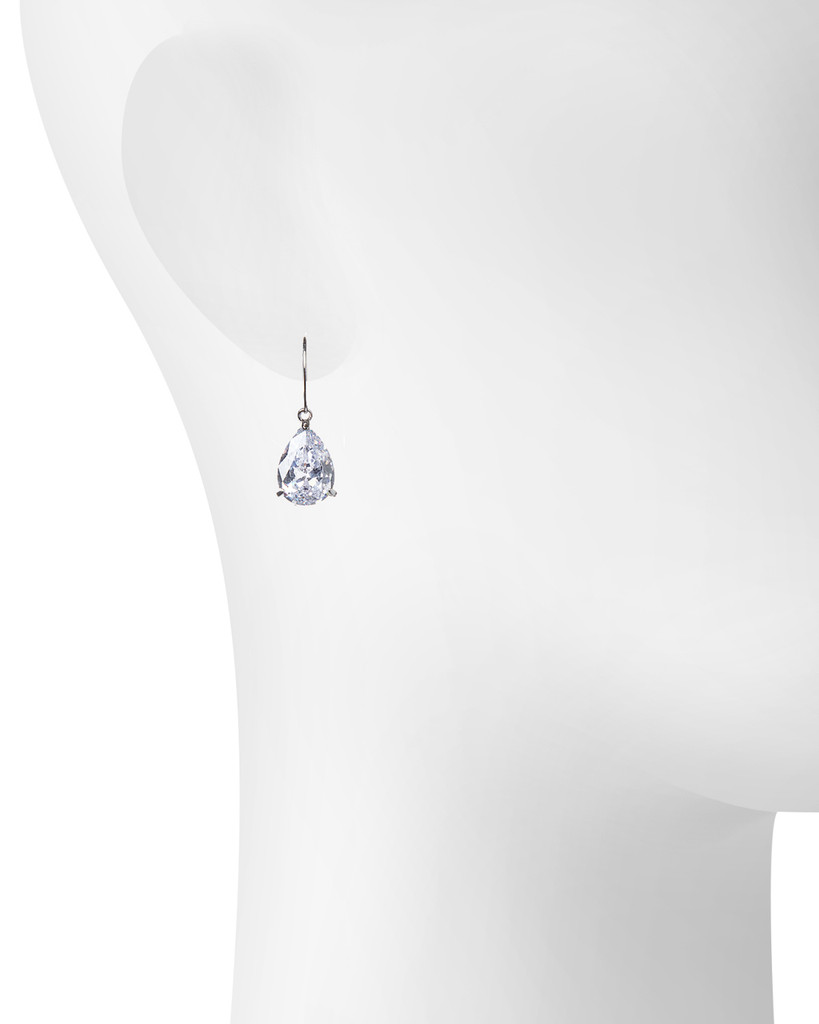 Rhodium Plated Raine Earrings Shown on Ear