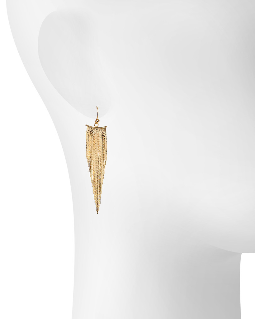 Yellow Gold Plated Liquid Earrings Shown on Ear