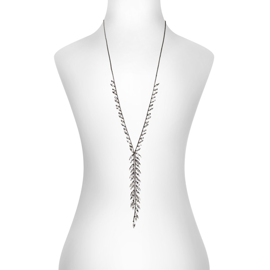 Antique Rhodium Plated Kali Necklace Shown on Neck
