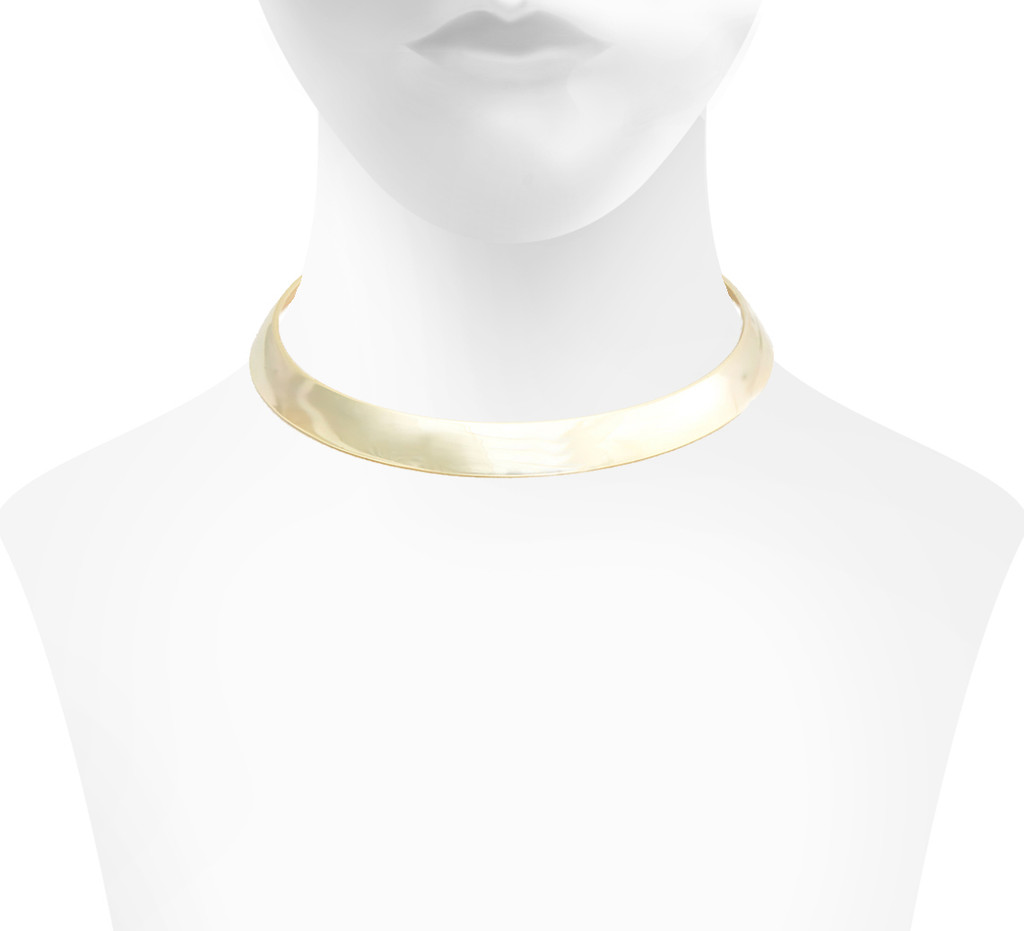Yellow Gold Plated Cigar Band Choker Shown on Neck