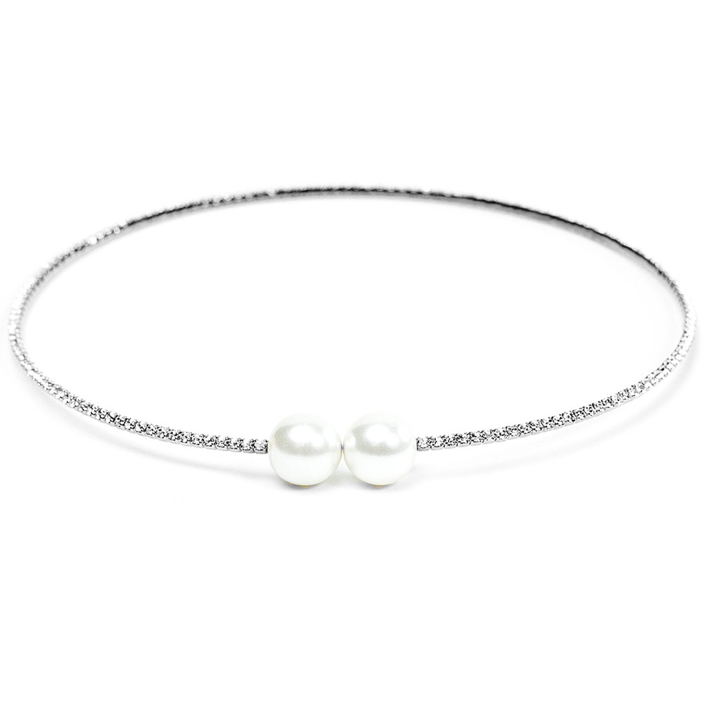 Rhodium Plated Double Pearl Stretch Choker